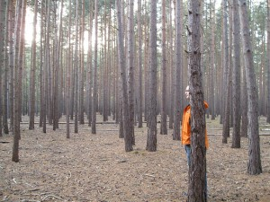 man behind tree