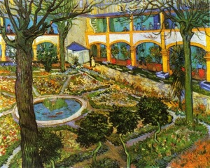 The Courtyard of the Hospital in Arles, Vincent van Gogh, 1889.jpg
