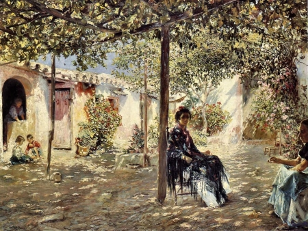 Ladies in a Sun Dappled Courtyard by José Gallegos y Arnosa (1857-1917)