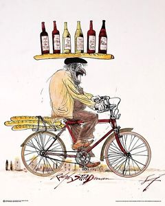 Red wine and bicycle by Ralph Steadman
