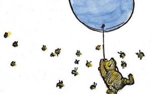 pooh with ballon and bees
