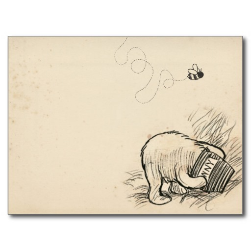 pooh with head in jar + bee