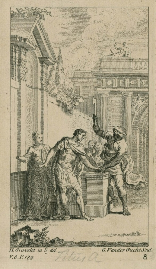 Aaron cuts off Titus's hand in 3.1 Gravelot engraving by Gerard Van der Gucht (1740)