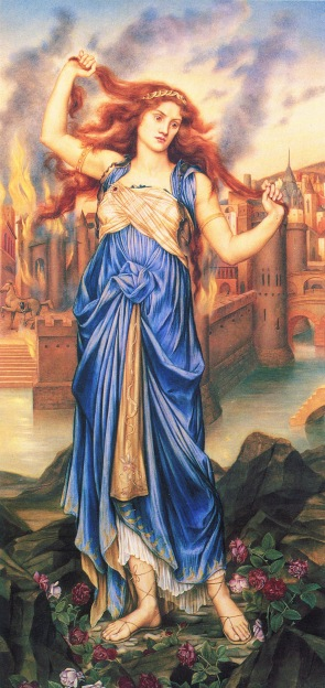 13 Cassandra by Evelyn De Morgan, 1898. Soothsayer Cassandra in front of the burning city of Troy at the peak of her insanity.