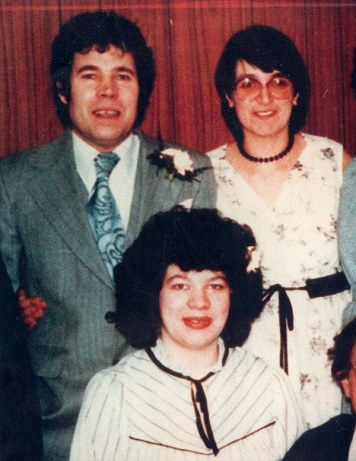 TD13 Fred West and wife Rose with the serial killer's daughter Anne Marie at her wedding in 1986